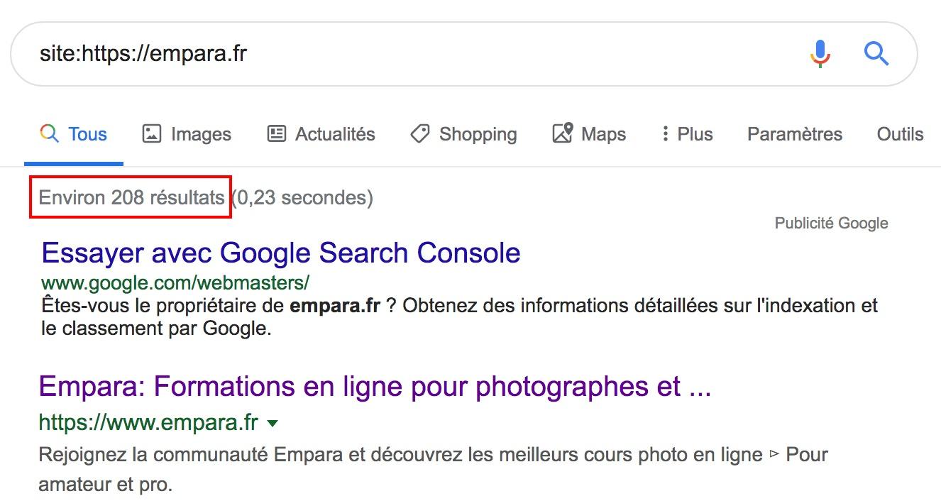 """Résultats recherche """"site:"""" sur Google"""