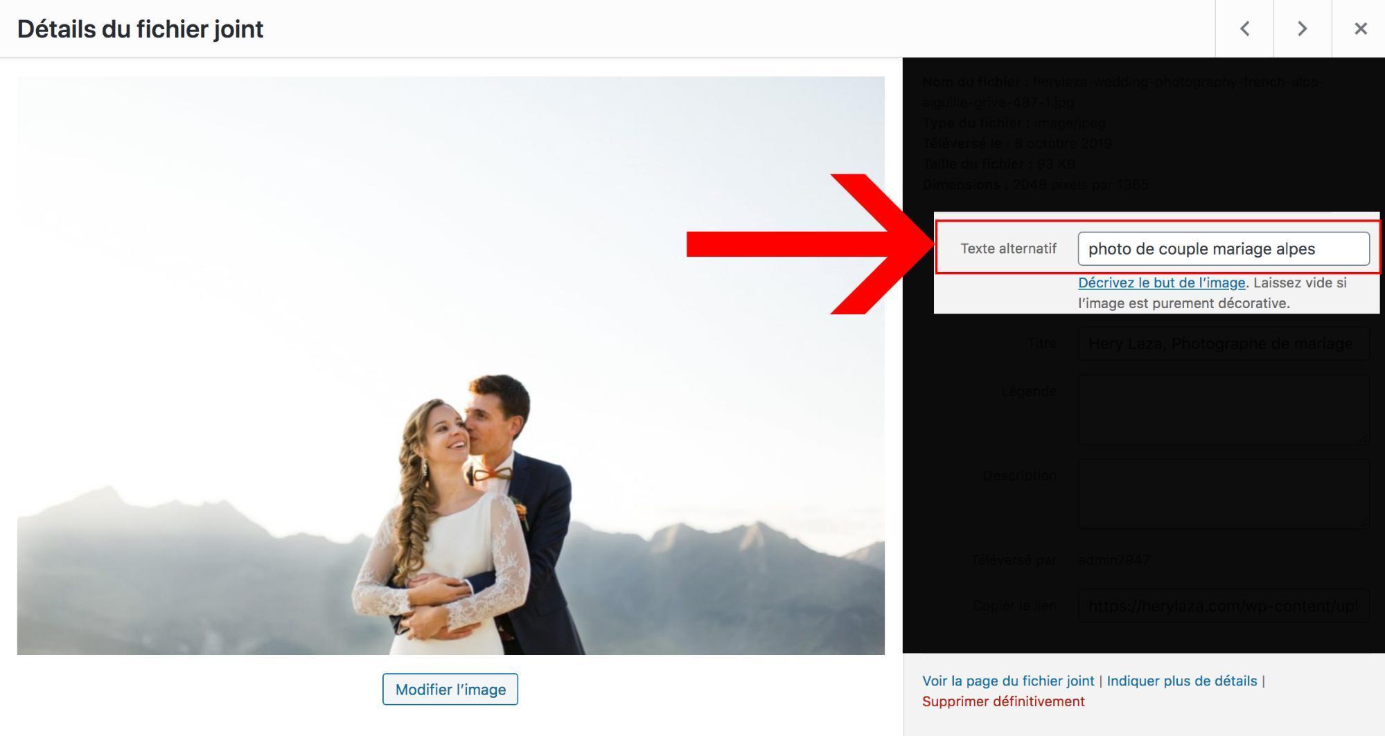 Remplir le texte alternatif pour une image sur wordpress