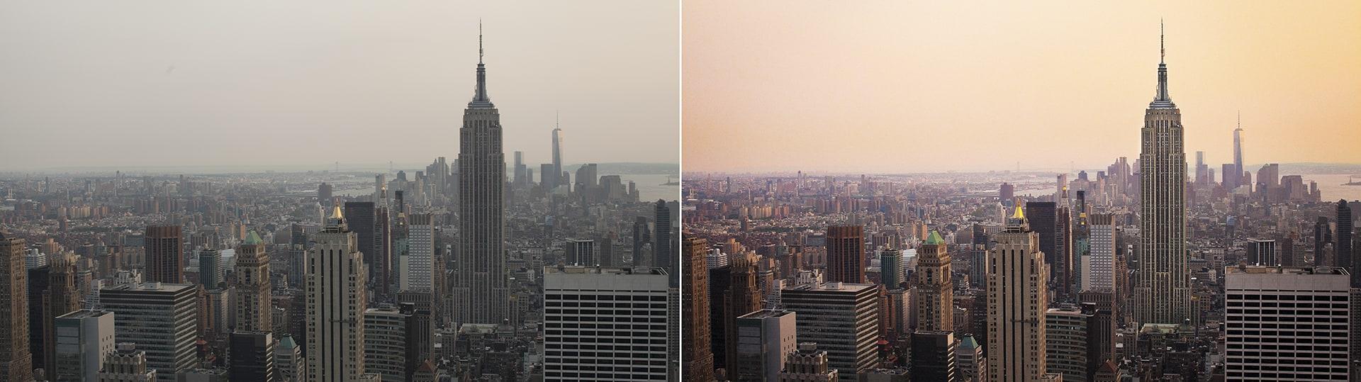 tuto lightroom paysage urbain new york avant apres